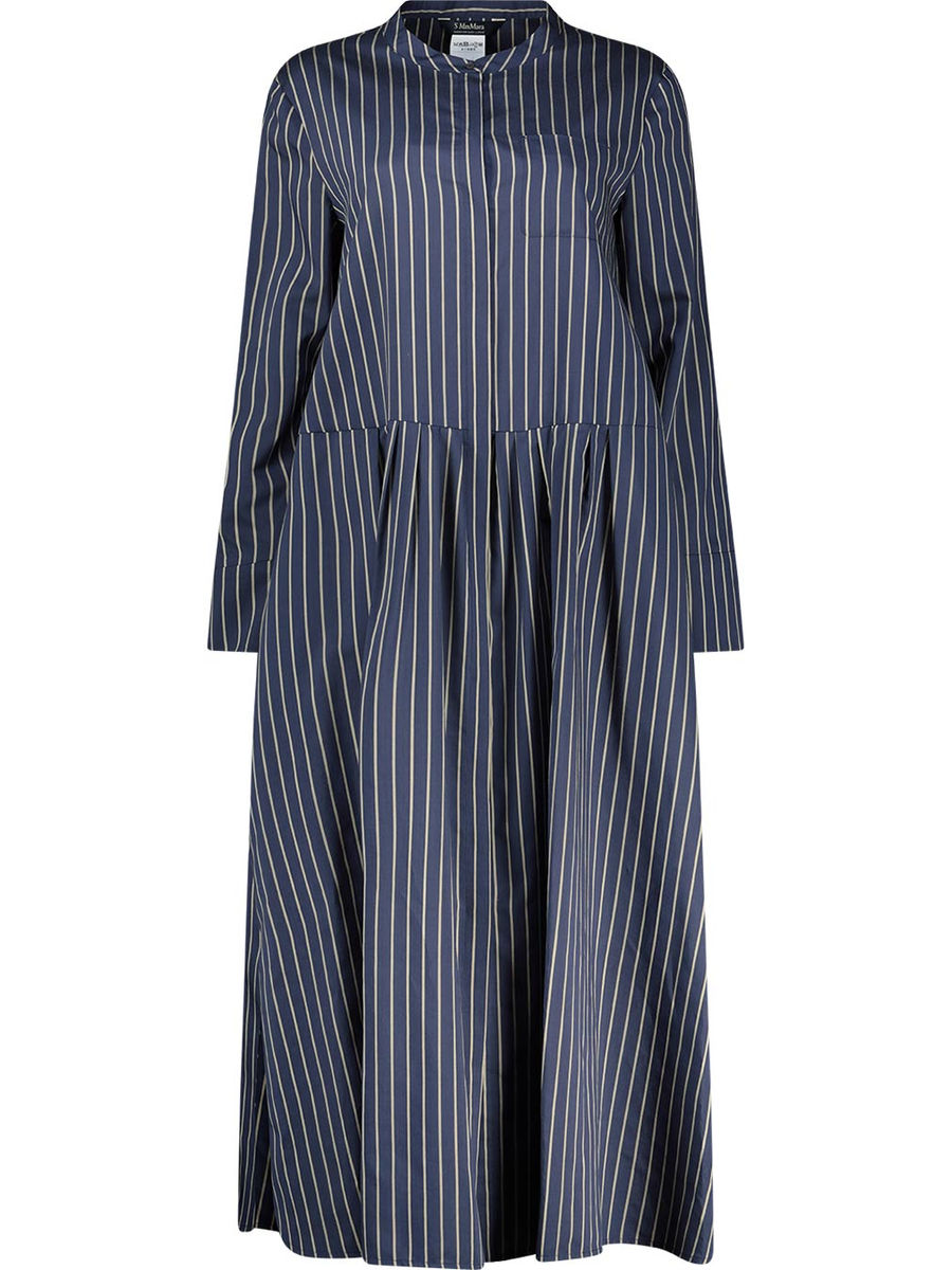 Striped A-line pleated dress