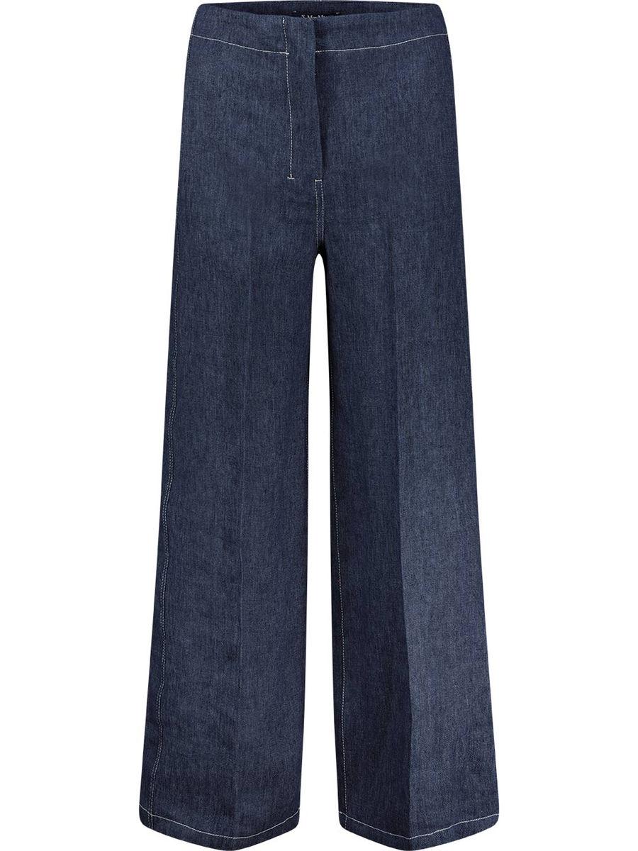 Wide linen denim pants