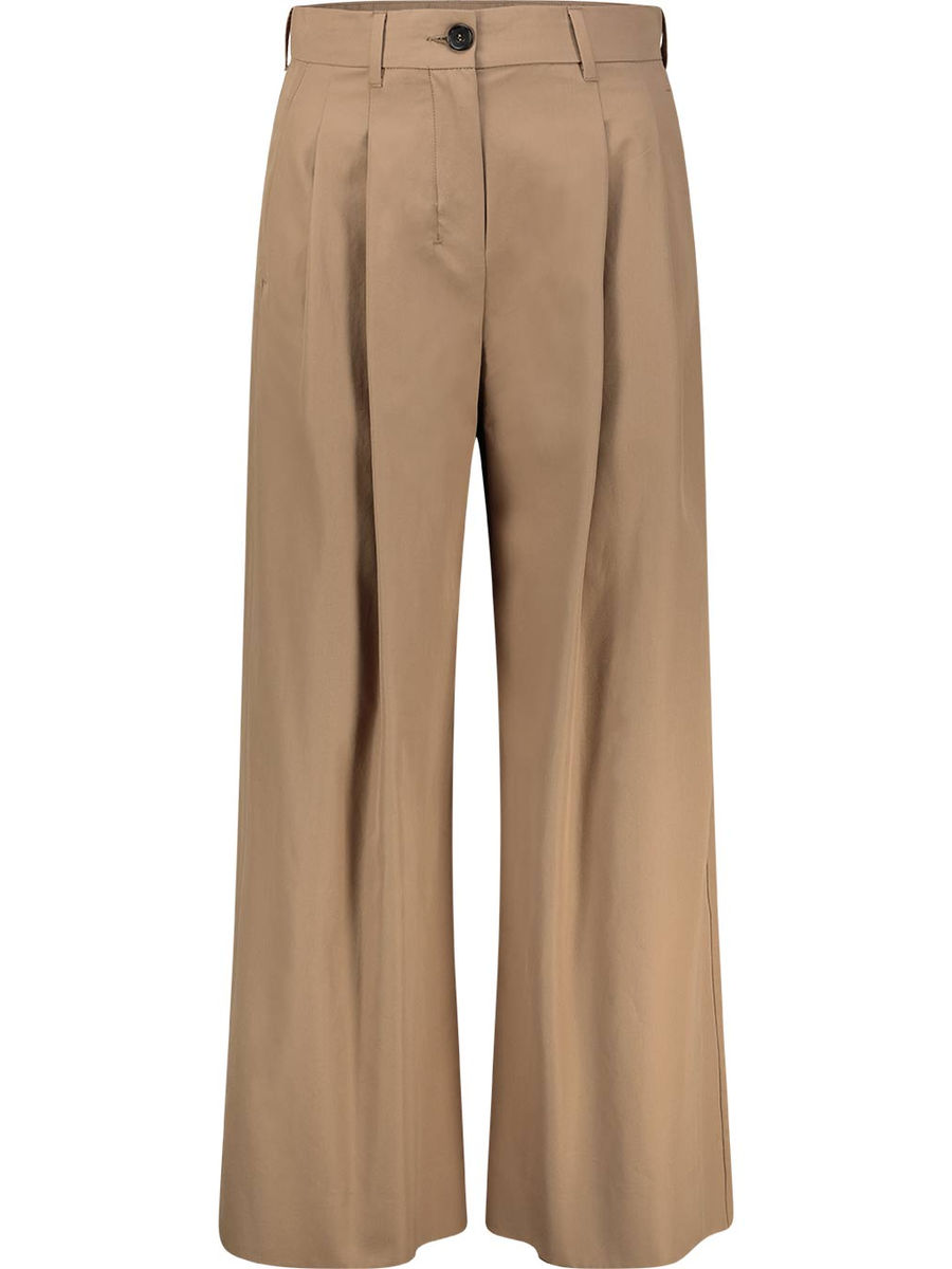 Pleated camel flared trousers