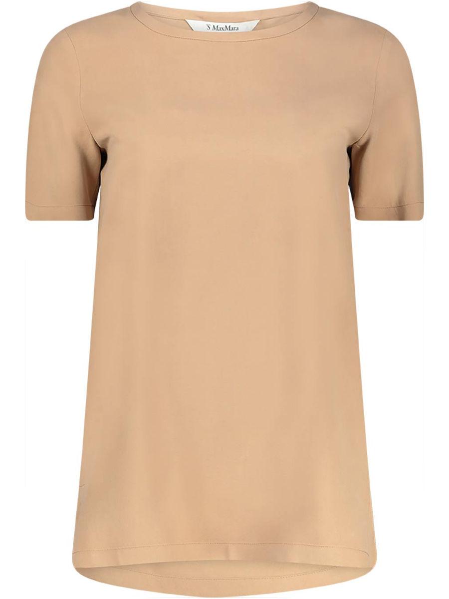 Basic camel side-slit t-shirt