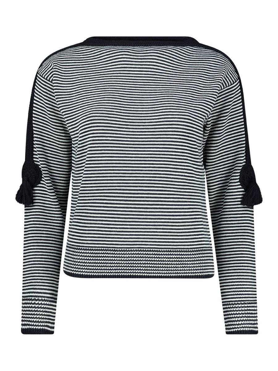Striped high boat neck jumper