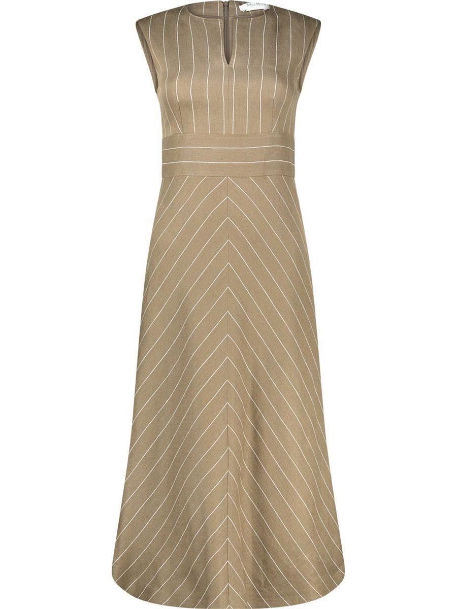 Striped split neck dress