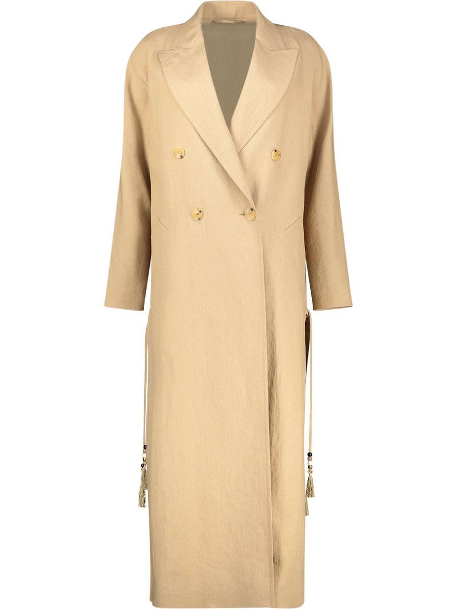 Double breasted peak lapel coat