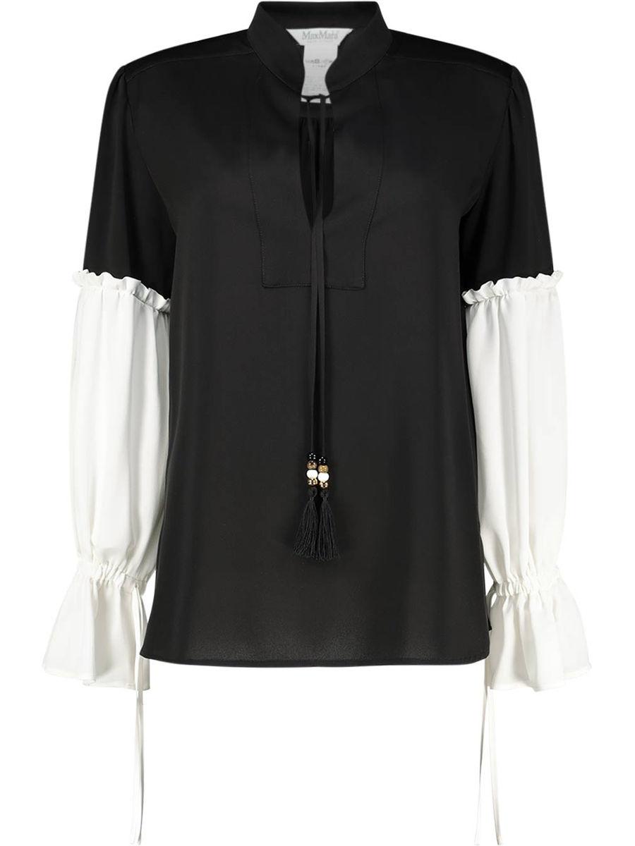 Monochrome ruffle sleeve blouse