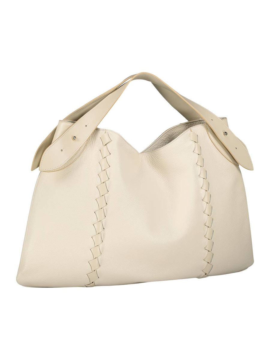 Cream patent fastening hobo bag
