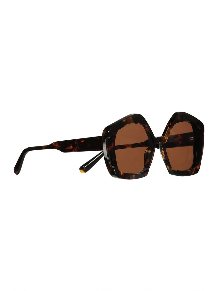 Geometric frame Havana sunglasses