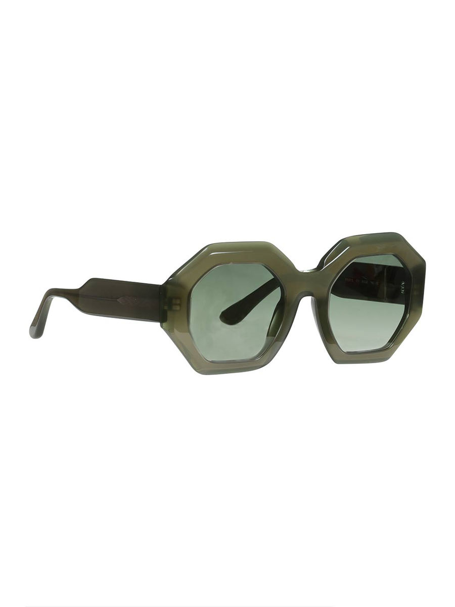 Sage gray geometric rim sunglasses