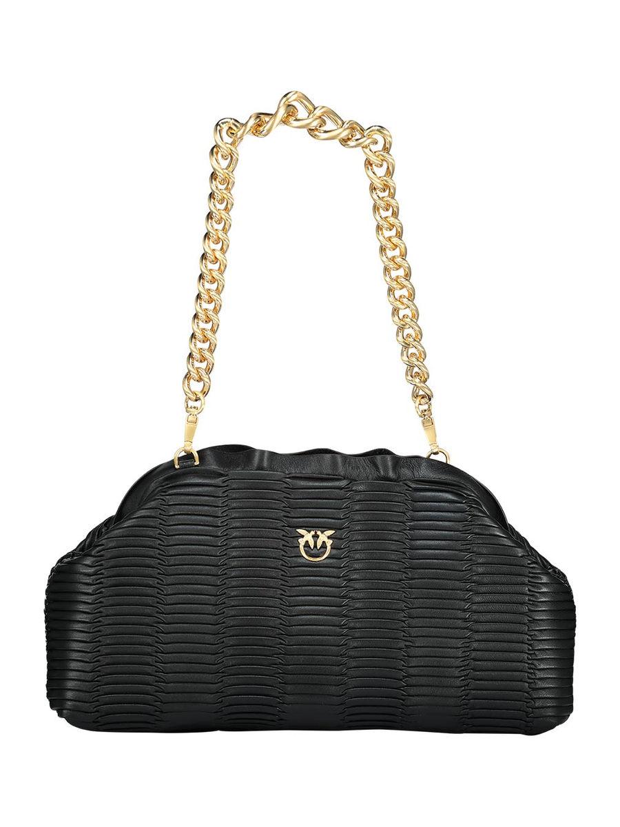 Textured gold embossed shoulder bag