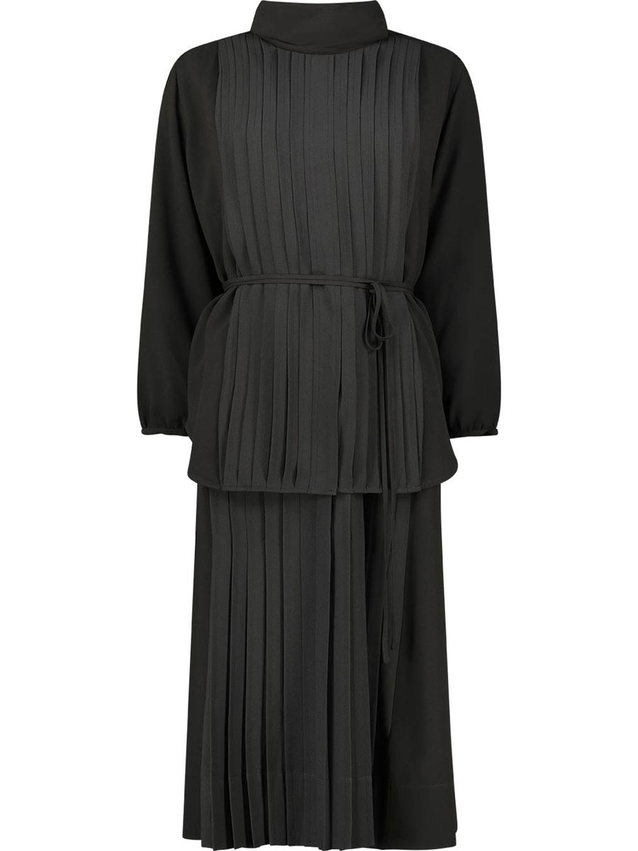 Plissiertes Midi-Kleid mit Bindegürtel
