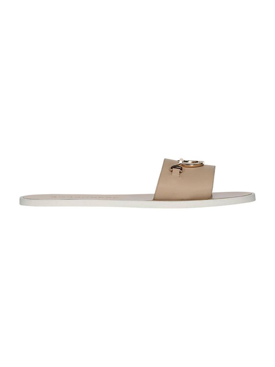 Neutral flat sole sliders