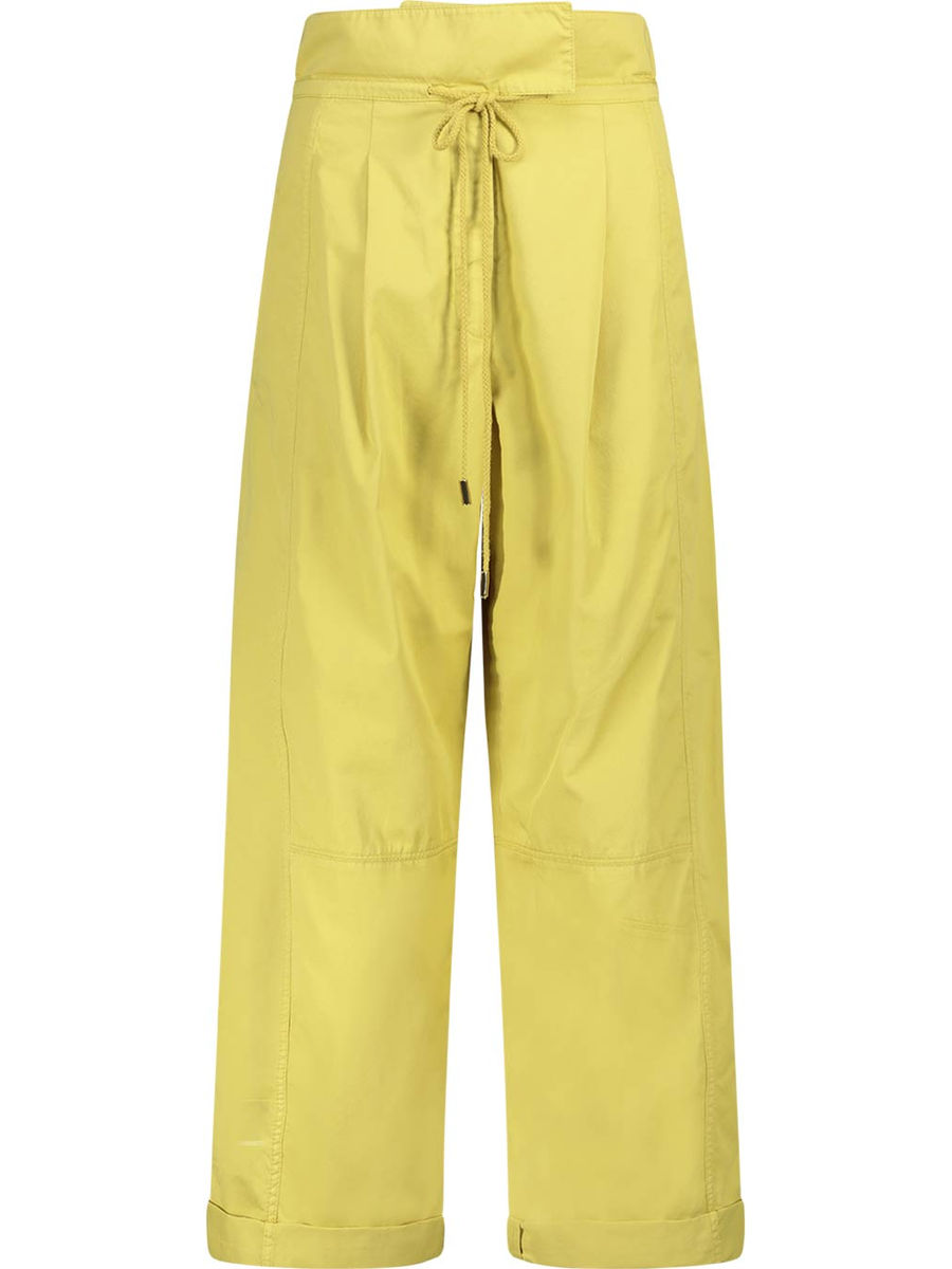 Overlap waistline cotton trousers