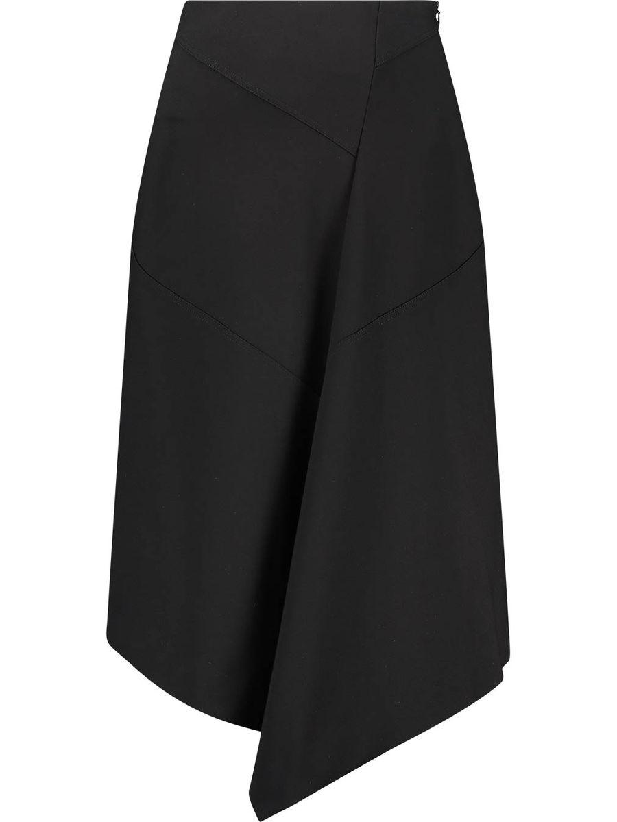 Asymmetrical hem overlap skirt