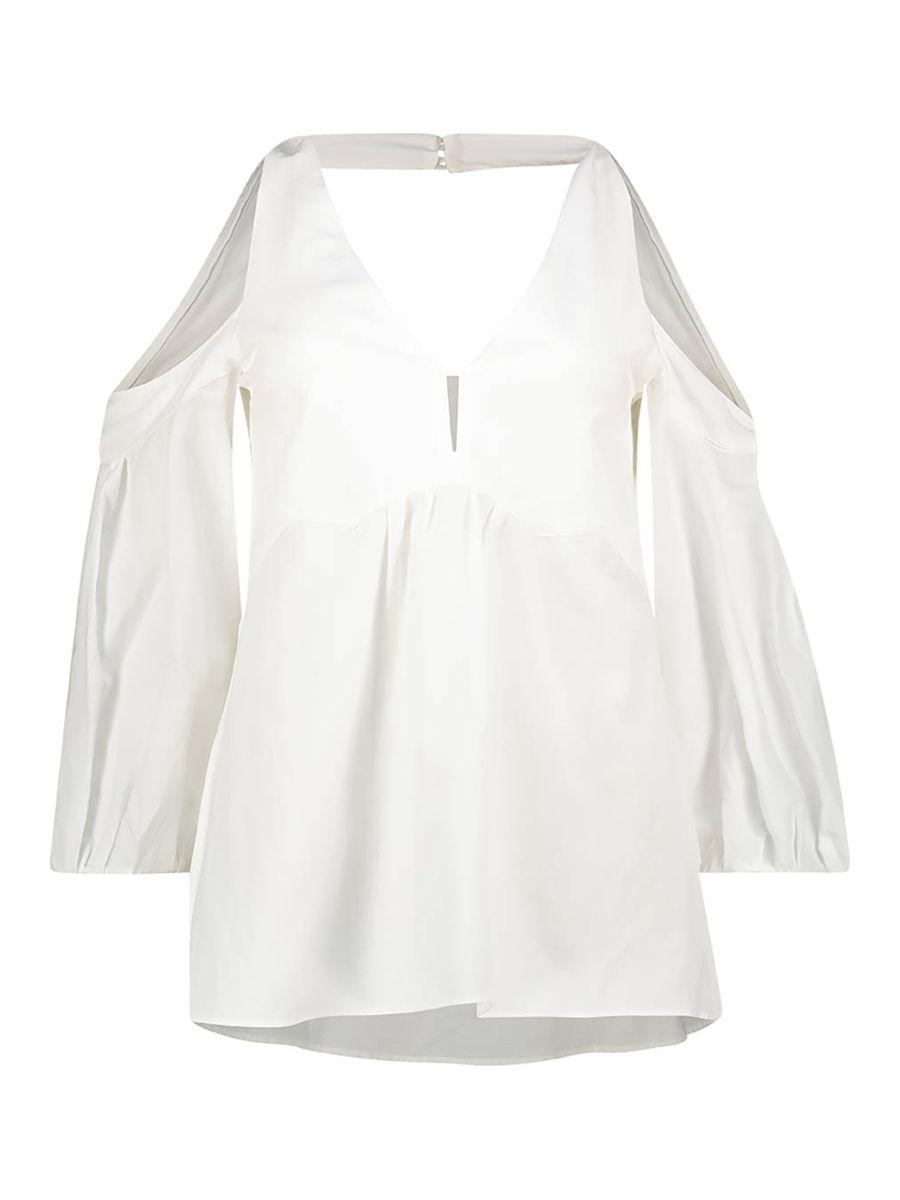 Cold-shoulder open-back blouse