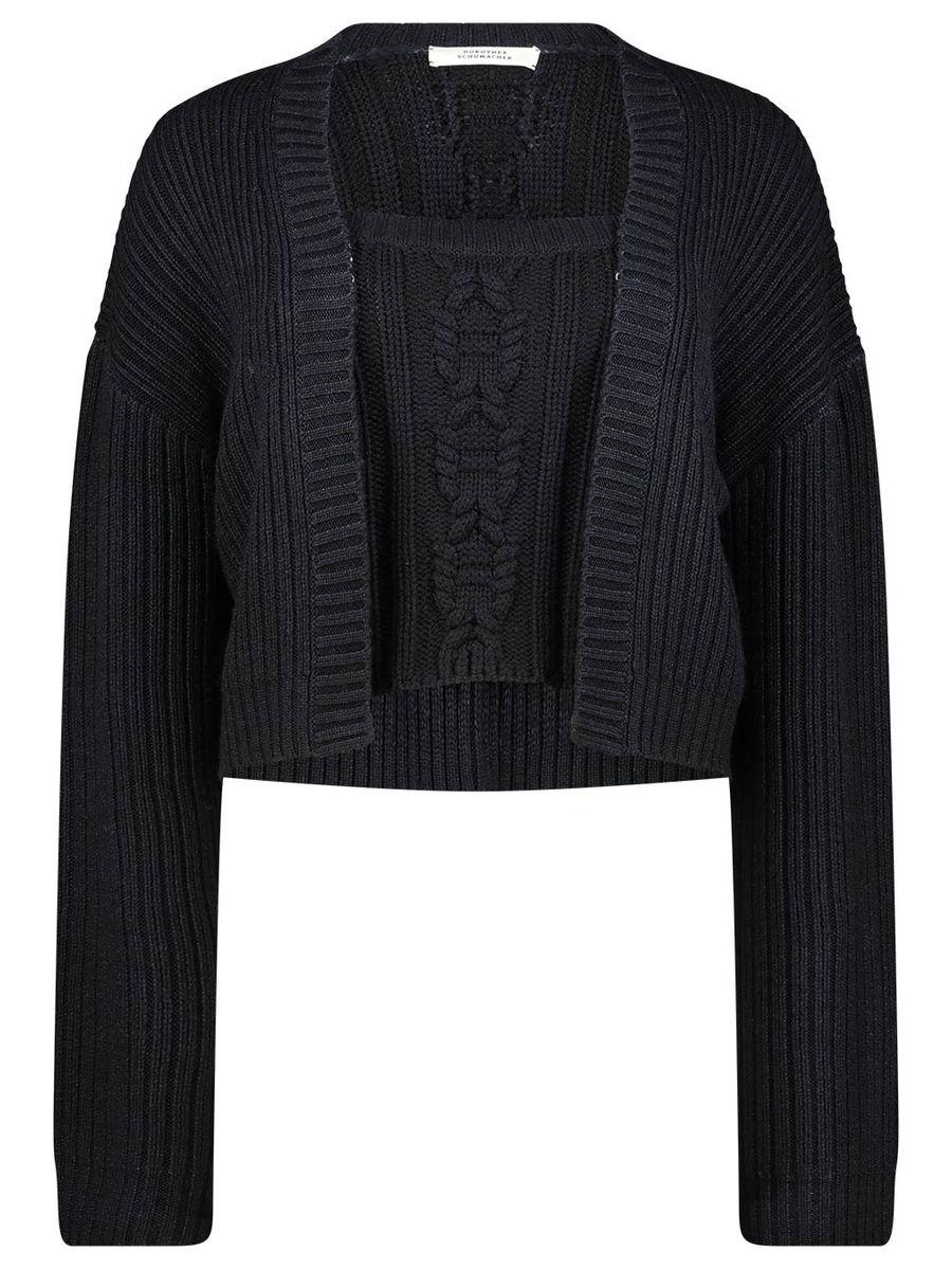 Cropped Knit cardigan set