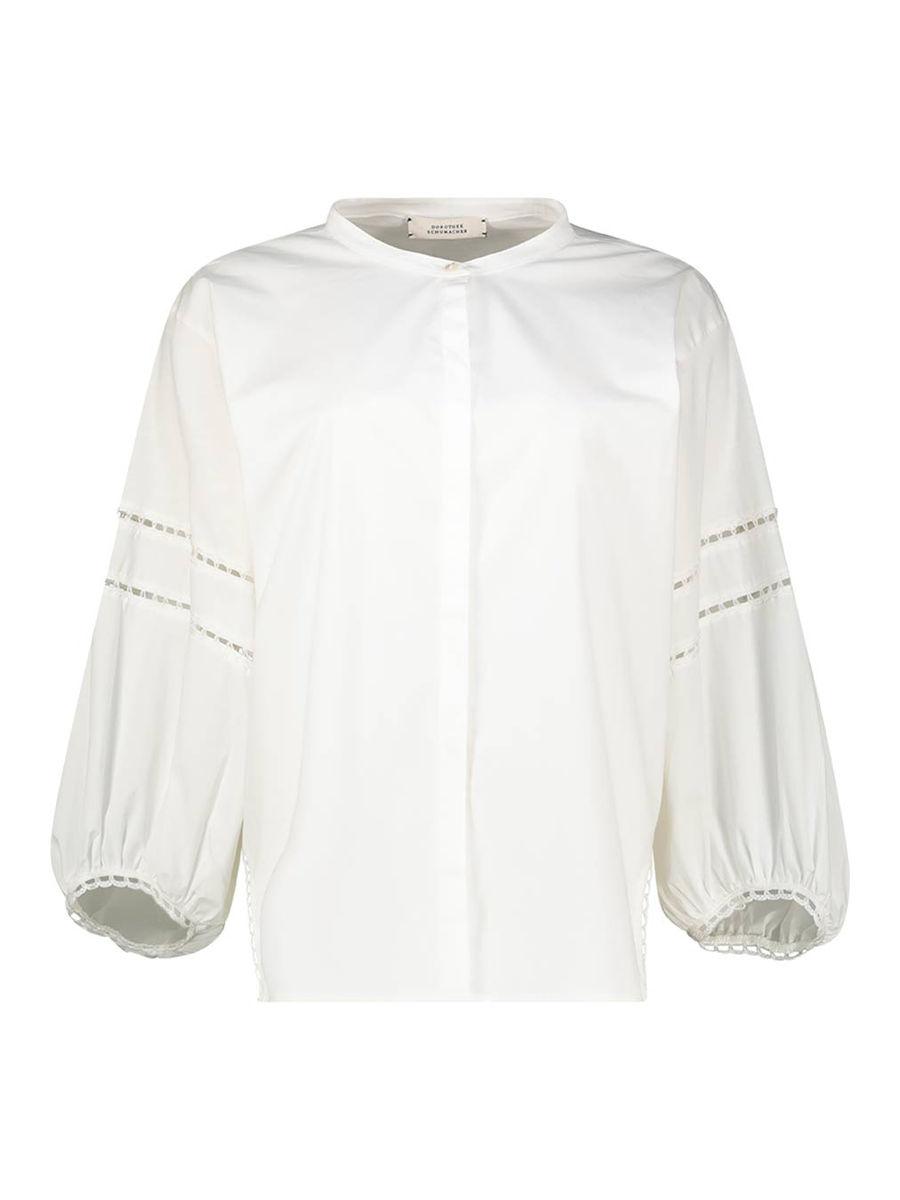 Cut-work detail lantern sleeve blouse