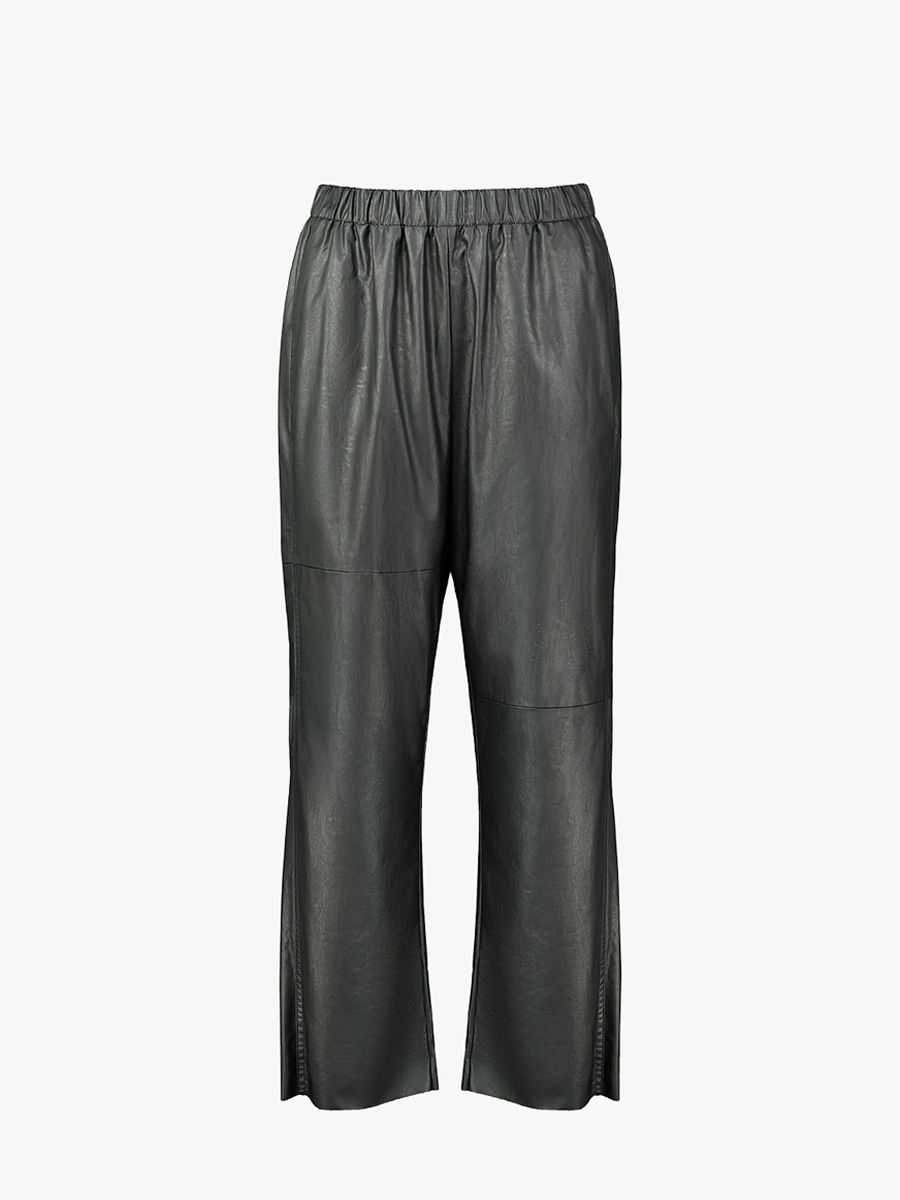 Faux leather cropped trousers