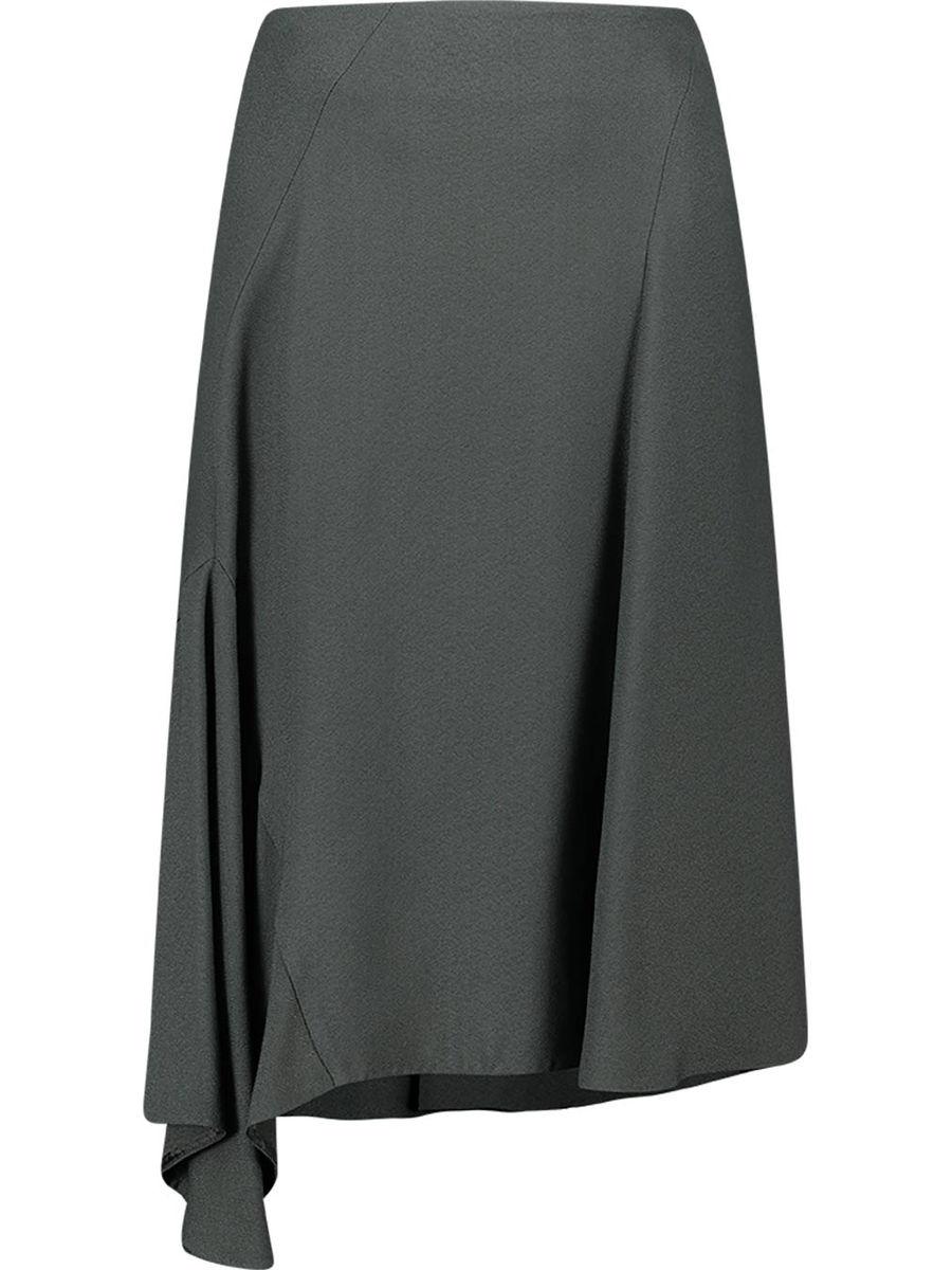 Asymmetric back fastening midi skirt