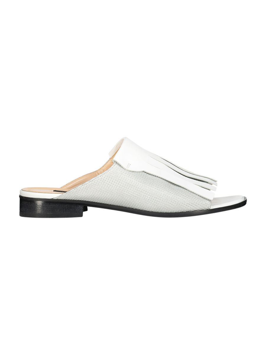 Pearl white fringed mules