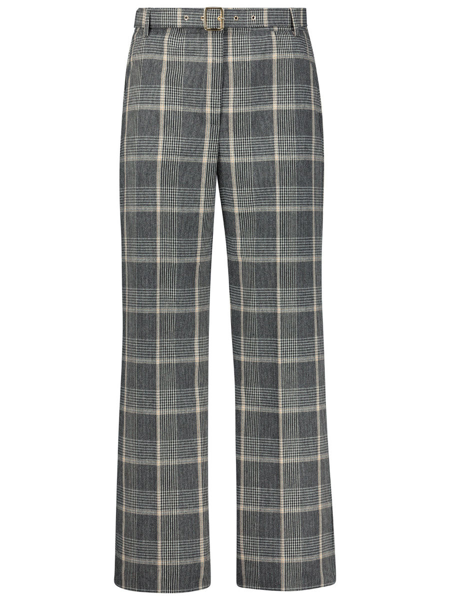 Boot cut tartan trousers
