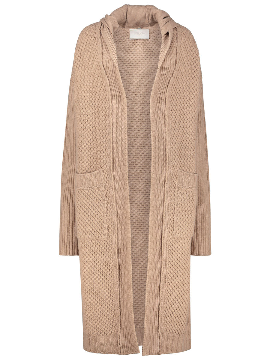 Knit open front overcoat