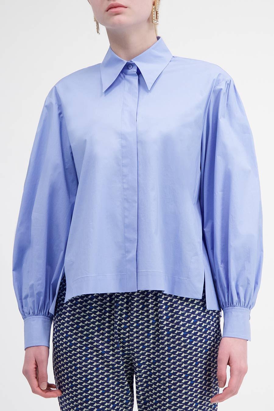Azure pleated sleeves shirt