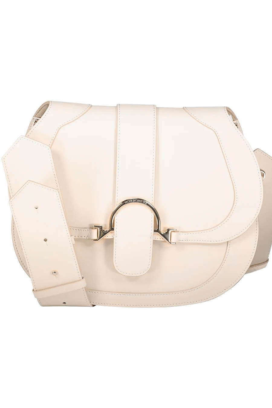 Neutral midi saddle shoulder bag